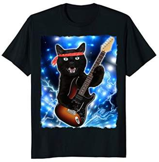 Cat Guitar Shirt Rock Band Tshirts Epic Solo Concert Tee