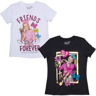 Jo-Jo JoJo Siwa Jojo Love and Bow Bow Graphic T-Shirts, 2-Pack Set (Little Girls & Big Girls)