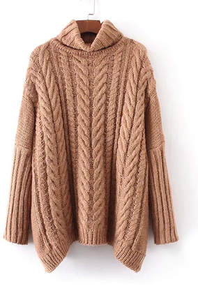 Shein Cable Knit Turtleneck Oversized Sweater