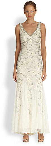 Sue Wong Beaded & Floral Embroidered Tulle Gown