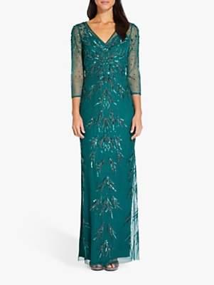 Adrianna Papell Beaded Mesh Maxi Dress, Dark Jade