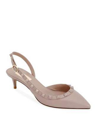 Valentino Rockstud Low-Heel Leather Slingback Pumps