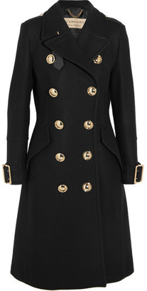 Burberry - Leather-trimmed Double-breasted Wool-blend Coat - Black