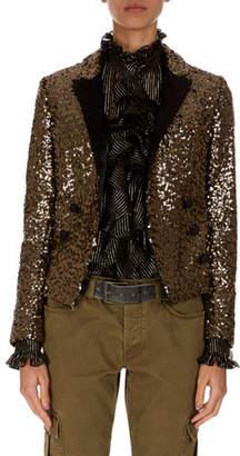 Redemption Spencer Golden-Paillette Double-Breasted Jacket
