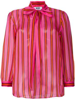 MSGM pussy-bow striped blouse