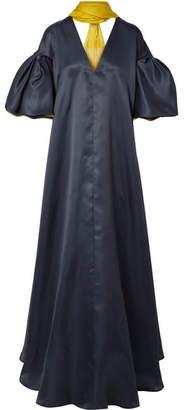 Roksanda Farola Two-tone Silk-organza Gown - Midnight blue