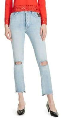 Maje Paolo Embroidered Distressed Jeans