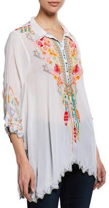 Johnny Was Plus Size Festival Long-Sleeve Embroidered Georgette Tunic