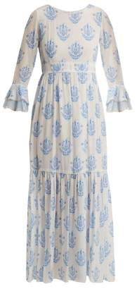 Athena Procopiou - Vagabond Floral Print Silk Dress - Womens - Blue White