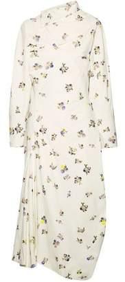 Acne Studios Dragica Open-Back Asymmetric Floral-Print Cotton-Corduroy Midi Dress