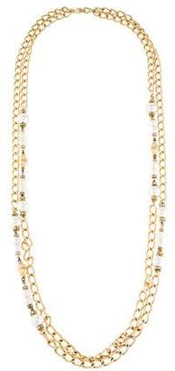 Christian Dior Faux Pearl & Crystal Multistrand Necklace