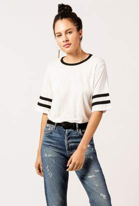Monrow Oversized Stripe Arms Tee
