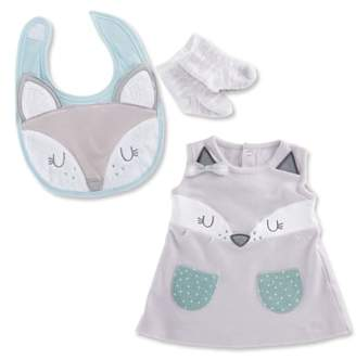 Baby Aspen Forest Friends Fox Dress, Bib & Socks Set