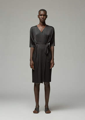 Pleats Please Issey Miyake Three-Quarter Sleeve Wrap Dress