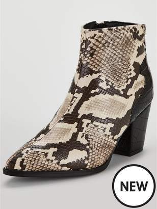 Lost Ink Amber Block Heeled Animal Printed Ankle Boots - Snake