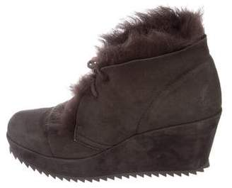Pedro Garcia Fur-Trimmed Wedge Booties