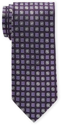 Piattelli Bruno Purple Floral Square Silk Tie