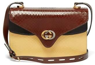 Gucci Gg Python Leather Accordion Cross Body Bag - Womens - Brown Multi