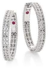 "Roberto Coin Symphony Diamond& 18K White Gold Hoop Earrings/0.75"""