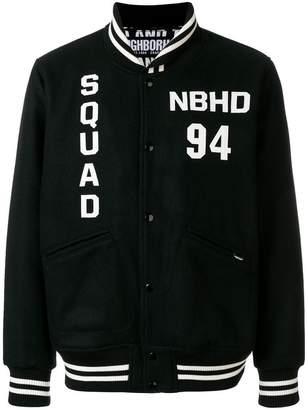 Neighborhood logo embroidered bomber jacket