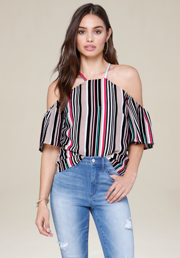 Striped Flutter Sleeve Top