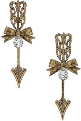 Rodarte Bow & Arrow Earrings in Antique Gold   FWRD