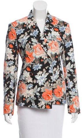 CelineCéline Double-Breasted Floral Print Blazer