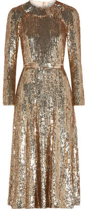 Temperley London Ray Sequined Chiffon Midi Dress - Gold