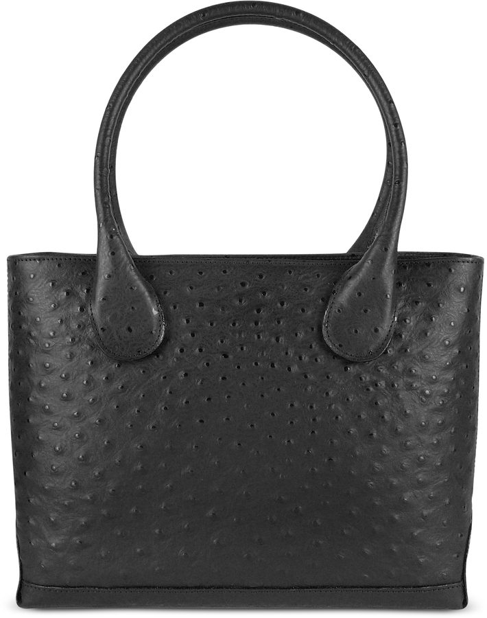 Fontanelli Black Ostrich Stamped Italian Leather Tote Bag