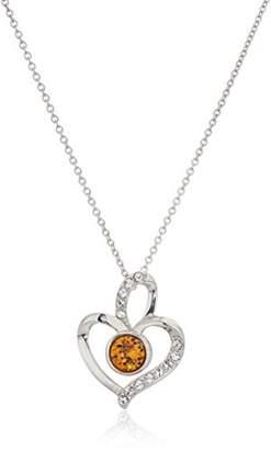 Swarovski Platinum Plated Sterling Silver Crystal Citrine Topaz Color Birthstone Heart Pendant Necklace