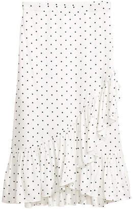 H&M Calf-length Flounced Skirt - White