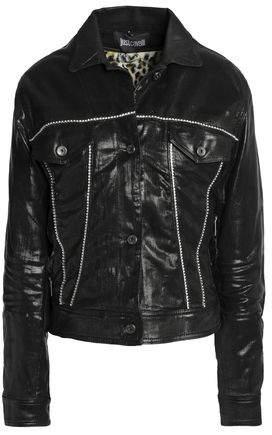 Crystal-Embellished Coated Denim Jacket