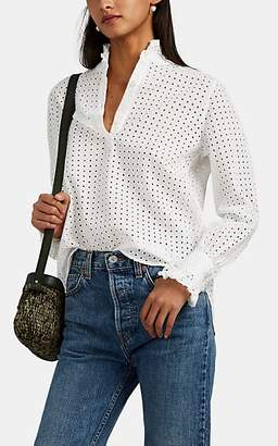Officine Generale Women's Justine Ruffle Cotton Eyelet Blouse - White