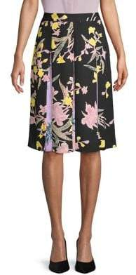 Diane von Furstenberg Floral Pleated Skirt