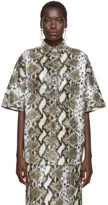 BEIGE Pushbutton Short Sleeve Raglan Shirt