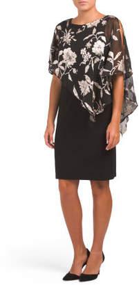 Floral Print Chiffon Overlay Dress