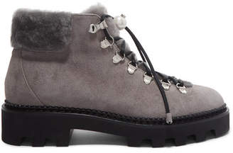Nicholas Kirkwood Shearling-trimmed Suede Ankle Boots - Gray