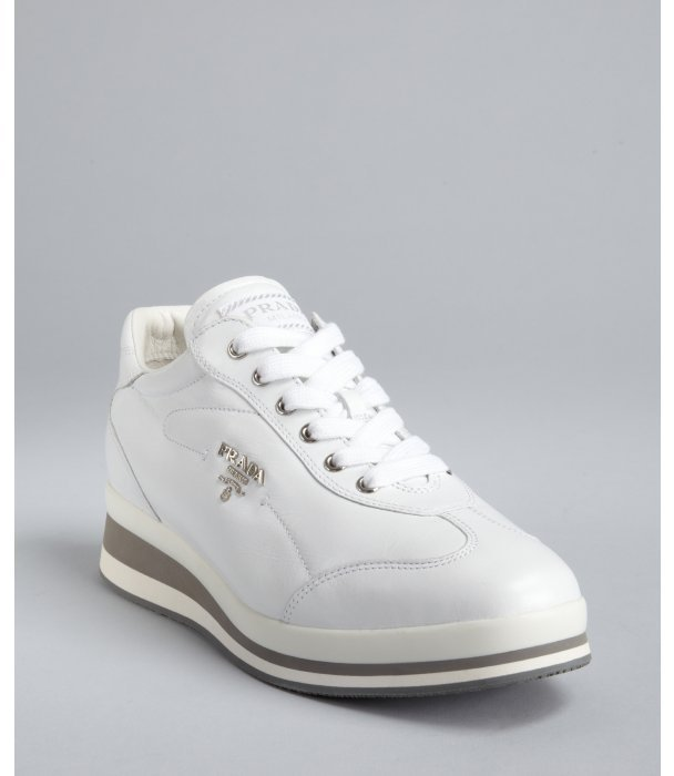 Prada Sport white leather high sole sneakers
