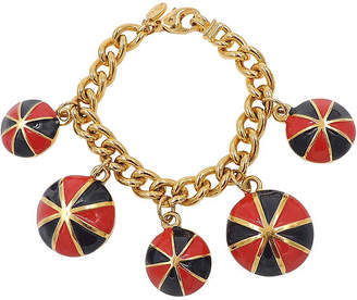 One Kings Lane Vintage Escada Red & Black Enamel Charm Bracelet - Carrie's Couture