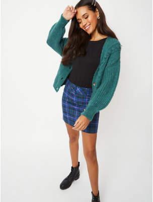 George Blue Check Buckle Detail Mini Skirt