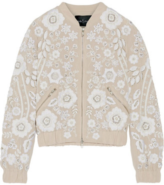 Needle & Thread - Snowdrop Embellished Embroidered Georgette Bomber Jacket - Beige $340 thestylecure.com