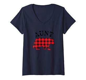 Buffalo David Bitton Womens Red Plaid Aunt Bear Matching Couple Christmas Pajama V-Neck T-Shirt