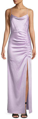 Alice + Olivia Diana Sleeveless Cowl-Neck High-Slit Column Gown