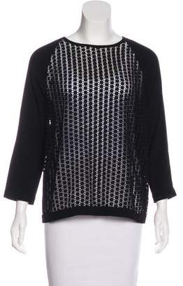 Tibi Lace-Accented Long Sleeve Blouse