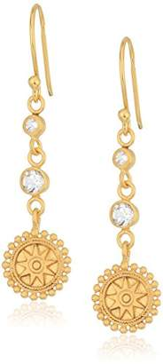 Satya Jewelry Celestial Goddess White Topaz Mandala Drop Earrings