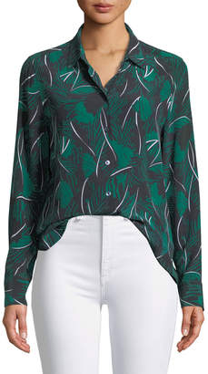 Equipment Essential Palm Leaf-Print Silk Shirt
