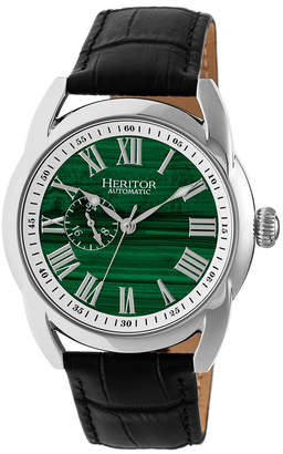 Heritor Automatic Marcus Silver & Forest Green Leather Watches 43mm