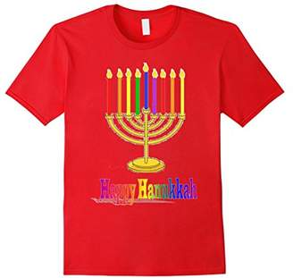 Happy Hanukkah Lighted Candles Jewish Menorah in Rainbow