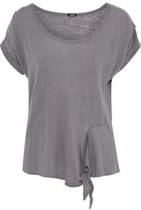 Monrow Knotted Slub Linen-Jersey T-Shirt