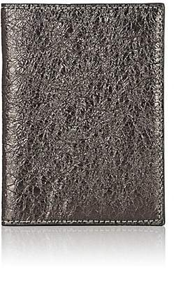Barneys New York Men's Crinkled Metallic Leather Passport Case - Dark Gray